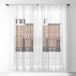 New York, NY Brownstone Sheer Curtain