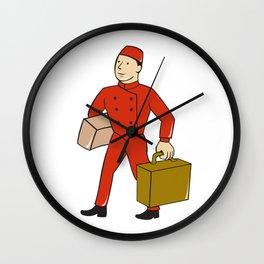 Bellboy Bellhop Carry Luggage Cartoon Wall Clock