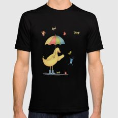 It's raining cats and dogs SMALL Mens Fitted Tee Black