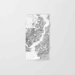 Istanbul White Map Hand & Bath Towel