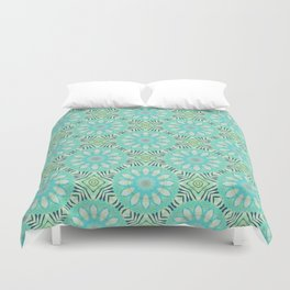 Cream And Turquoise Flowers Duvet Cover
