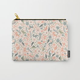 Floral Burst of Dinosaurs and Unicorns in Pink + Green Carry-All Pouch