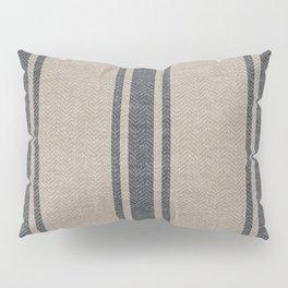 Farmhouse linen beige grey rustic grain sack texture vintage farmhouse lined design modern rustic Pillow Sham