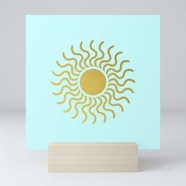Sun in Splendour Gold on Pale Blue Green Mini Art Print