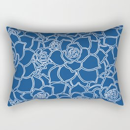 Prussian Blue Succulents Rectangular Pillow