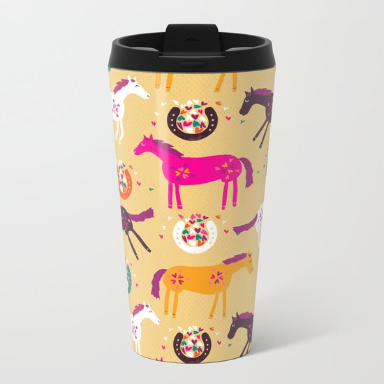Lucky Horses Metal Travel Mug
