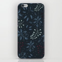 Leaves in a blue background iPhone Skin