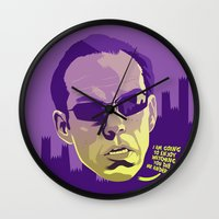 melissa smith Wall Clocks featuring AGENT SMITH by Mike Wrobel
