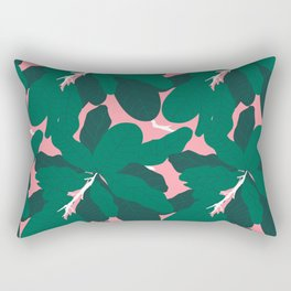 Tropicana Banana Leaves in Palm Springs Pink + Emerald Green Rectangular Pillow