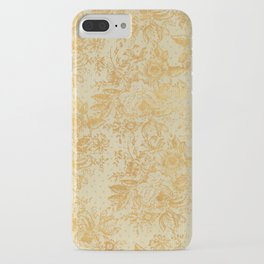 golden vintage damask floral pattern iPhone Case