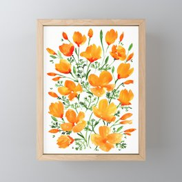 Watercolor California poppies Framed Mini Art Print