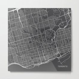 Toronto Map, Canada - Gray Metal Print