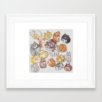 a lot of cats Framed Art Prints featuring Lot of cats by Billie La Roche