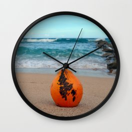 Coconut on the Beach Wall Clock