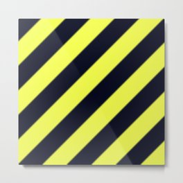 Black and Yellow Diagonal Stripes Metal Print
