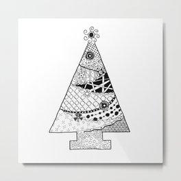 Doodle Christmas Tree Metal Print