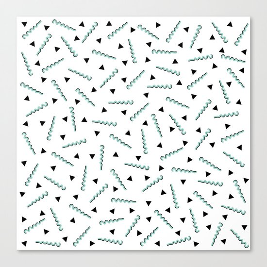 Retro Memphis Pattern Squiggle Green and Black Triangles Canvas Print