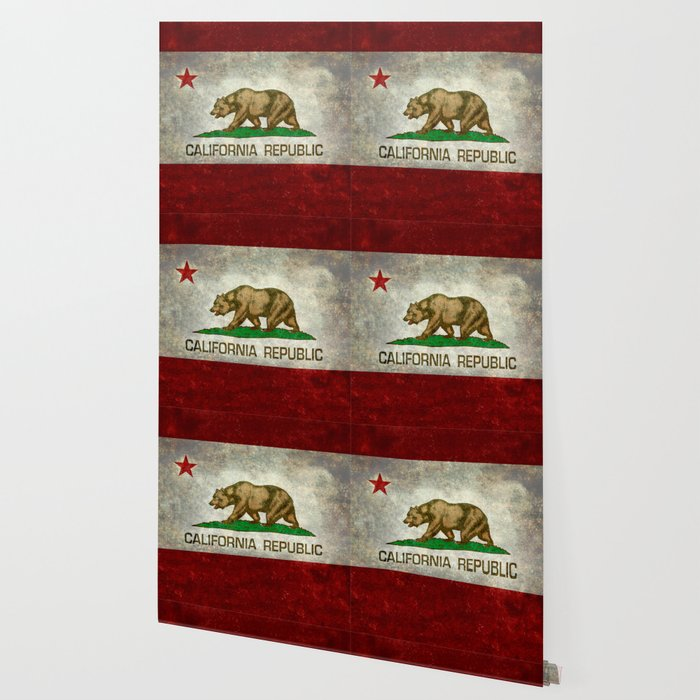 California Republic state flag Vintage Wallpaper