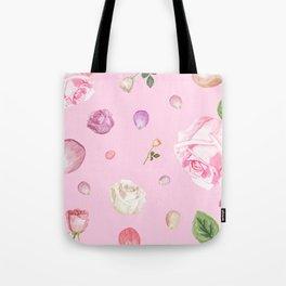 Pink Watercolor Flowers Tote Bag