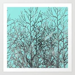 Hand painted teal black gray watercolor trees Art Print