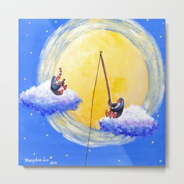 Penguins Music Maker and Dream Catcher Hang Out With The Moon Metal Print