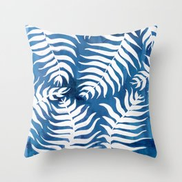 Caribean Blue Palms Throw Pillow