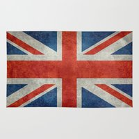 british flag Area & Throw Rugs featuring UK British Union Jack flag retro style by Bruce Stanfield