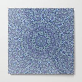Shades of blue mandala Metal Print