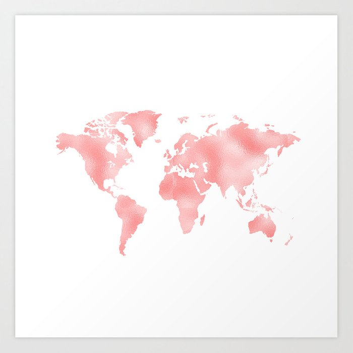 Pink shiny metal foil rose gold world map art print by betterhome pink shiny metal foil rose gold world map art print gumiabroncs Image collections