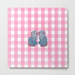 Raspberry Gingham with Staffordshire Sisters Metal Print