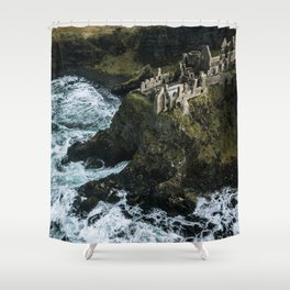Castle ruin by the irish sea - Landscape Photography Shower Curtain