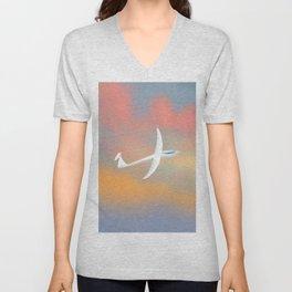 Glider flying at sunset Unisex V-Neck