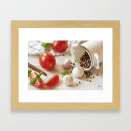 Fresh herbs and Spice for kitchen Framed Art Print