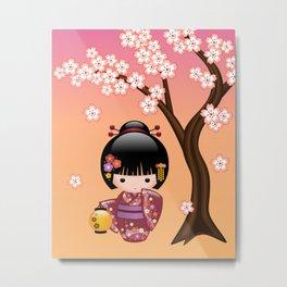 Japanese Sakura Kokeshi Doll Metal Print