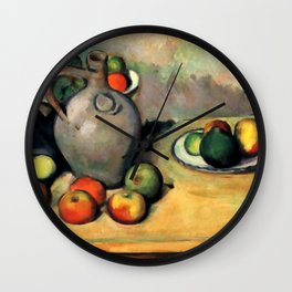 """Paul Cezanne """"Still life, jug and fruit on a table"""" Wall Clock"""