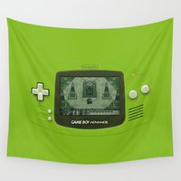gameboy Wall Tapestries featuring Gameboy Zelda Link by Electra