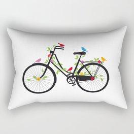 Old bicycle with birds Rectangular Pillow