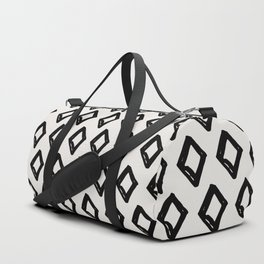 Modern Diamond Pattern 2 Black on Light Gray Duffle Bag