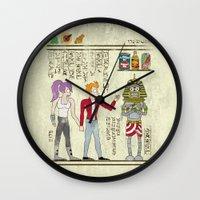 netflix Wall Clocks featuring Hero-glyphics: Planet Express  by Josh Ln