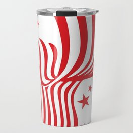 AMERICAN FLAG  & RED STARS JULY 4TH ART Travel Mug