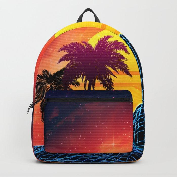 Sunset Vaporwave landscape with rocks and palms Backpack