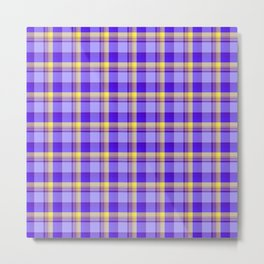 plaid in blues and sunny yellow Metal Print