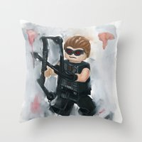 avenger Throw Pillows featuring Avenger Lego by Toys 'R' Art