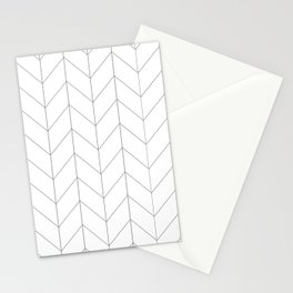Herringbone Chevron (Thin Black On White) Stationery Cards