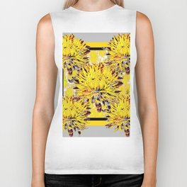 Abstracted Grey-Yellow Chrysanthemums Floral Biker Tank