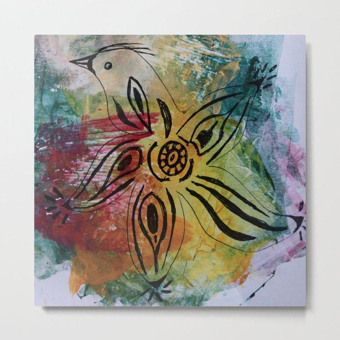 Bird Flower - JUSTART © Metal Print
