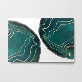 Green Blue Agate Gold Glitter Glam #1 #gem #decor #art #society6 Metal Print