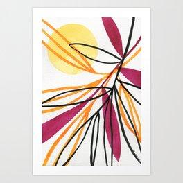 Sun and leaves Art Print
