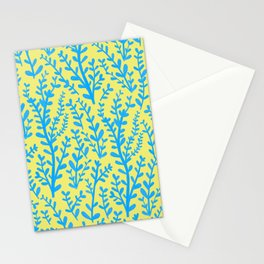 Yellow and Blue Floral Leaves Gouache Pattern Stationery Cards