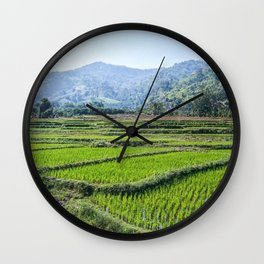 Farmland | Rice Fields Turkey European Agriculture Green Landscape Photograph Rolling Hills Mountain Wall Clock